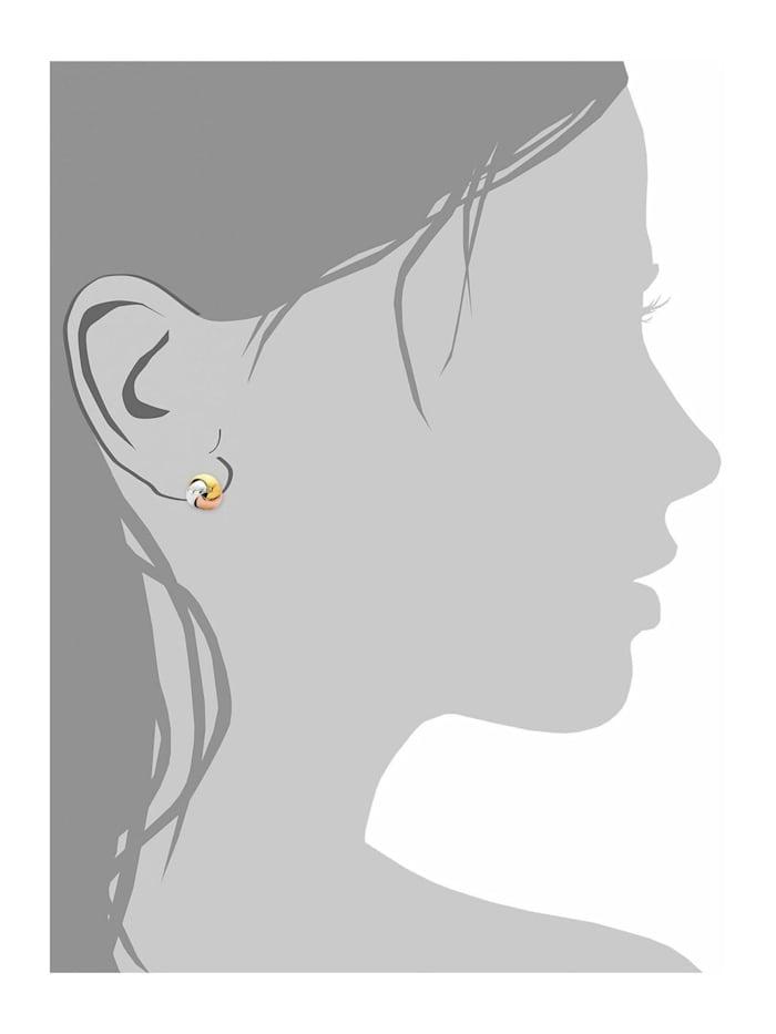 Ohrstecker für Damen Knoten 7 mm Tricolor 925 Silber teilvergoldet