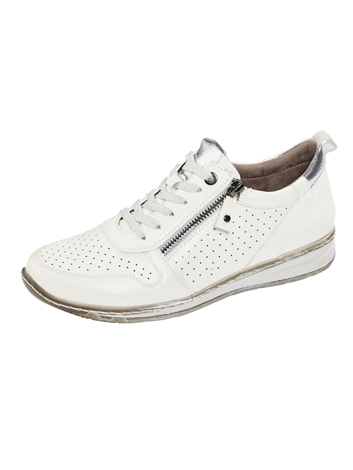 Julietta Lace-up shoes with chic perforated detail, White