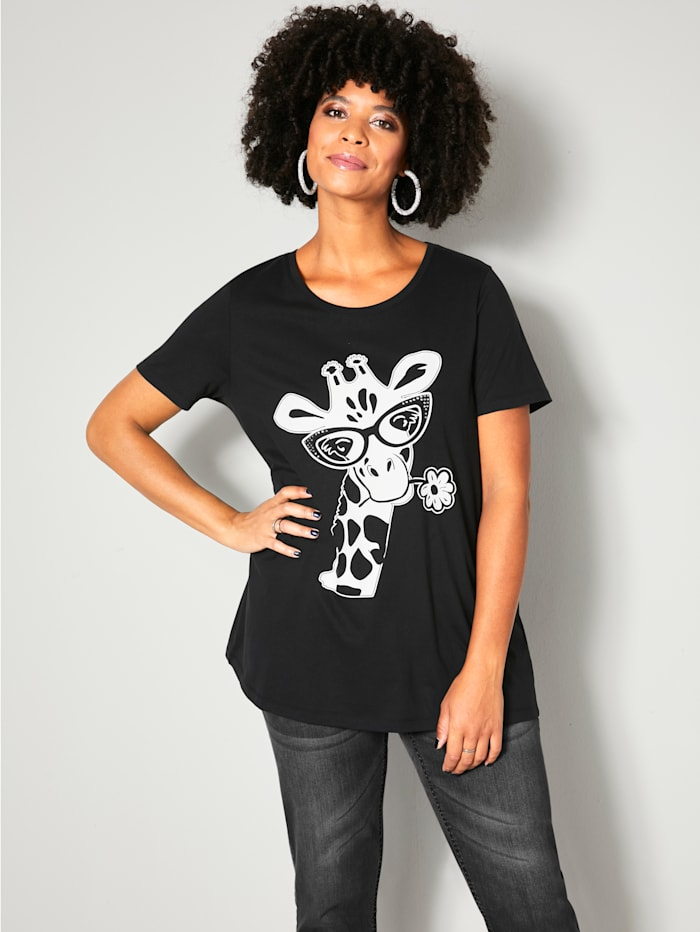 Angel of Style T-shirt à ravissant motif girafes, Noir/Blanc