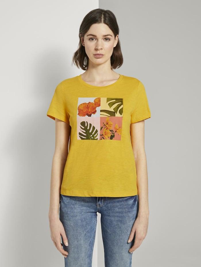 Tom Tailor T-Shirt mit Collagen-Print, deep golden yellow