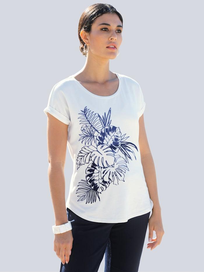 Alba Moda Shirt mit floralem Motiv aus Flock-Print, Weiß/Blau/Marineblau