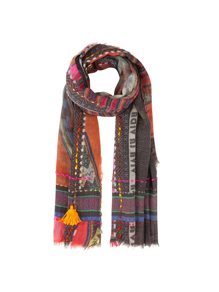 Codello Art School Ethno-Schal aus Wolle und Modal, camel