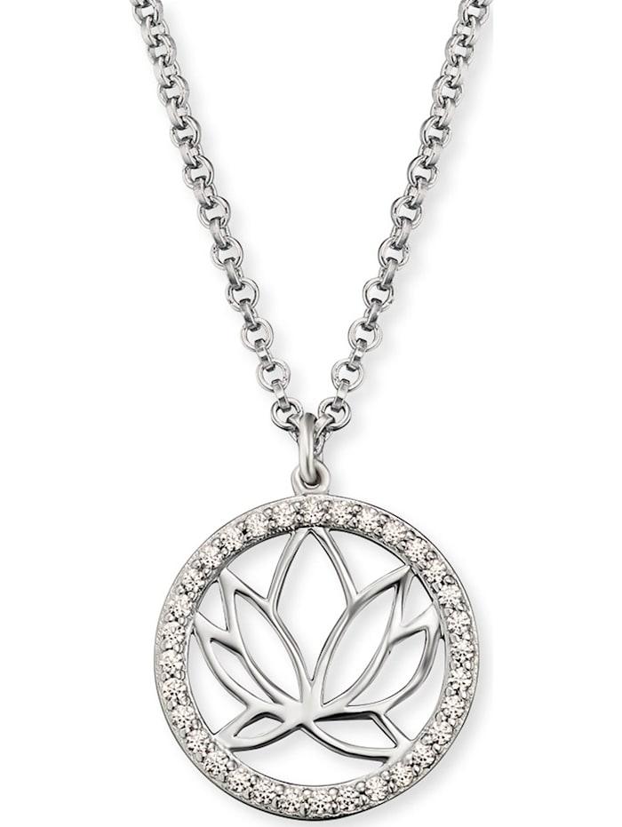 Engelsrufer Engelsrufer Damen-Kette Lotus 925er Silber rhodiniert 32 Zirkon, silber