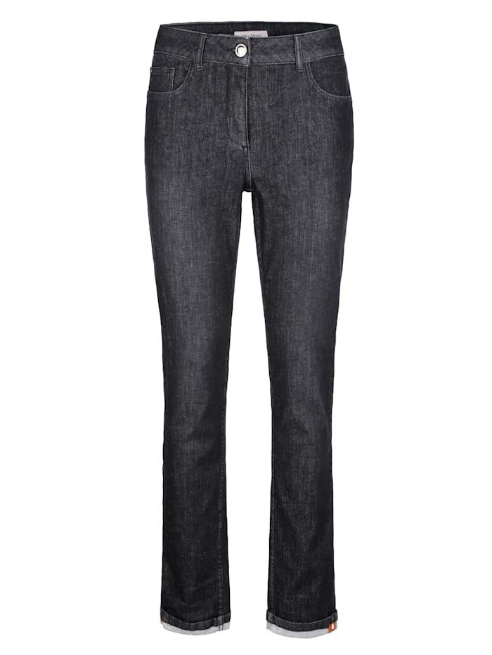 Jeans met contrastkleurige siertape