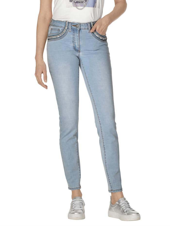 AMY VERMONT Jeans met gevlochten detail, Light blue