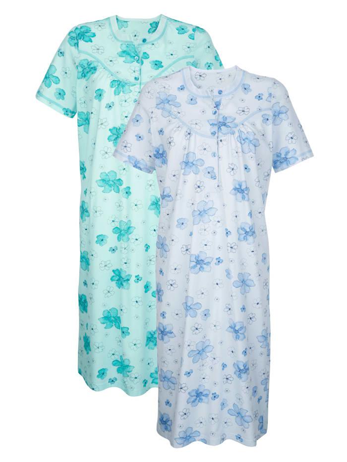 Harmony Nachthemden mit dekorativen Kontraststeppungen 2er Pack, mint/bleu