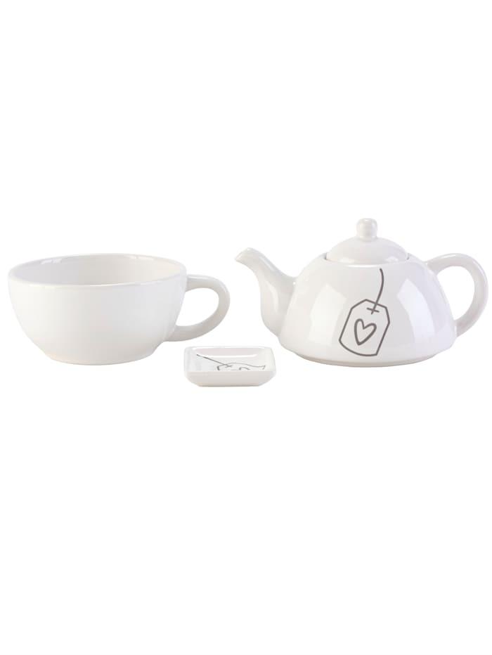IMPRESSIONEN living Tee-Set, 3-tlg., weiß/grau