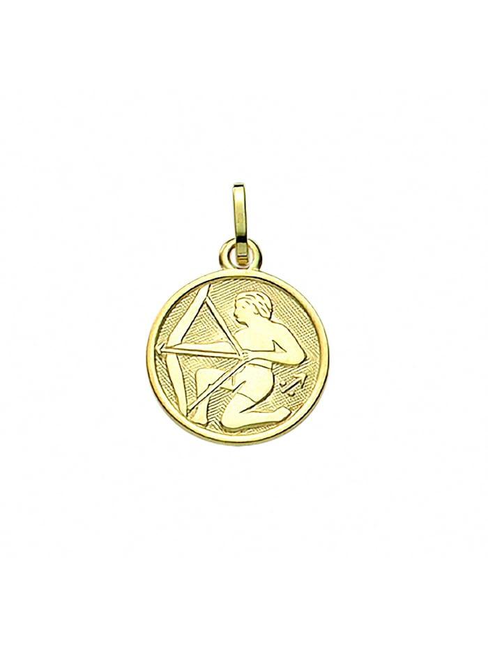 1001 Diamonds Damen & Herren Goldschmuck 333 Gold Sternzeichen Anhänger Schütze Ø 11,8 mm, gold