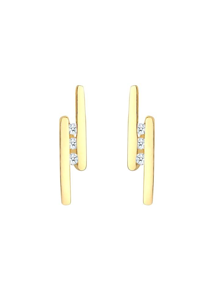 Ohrringe Stecker Elegant Stab Diamant 0.09 Ct. 925 Silber