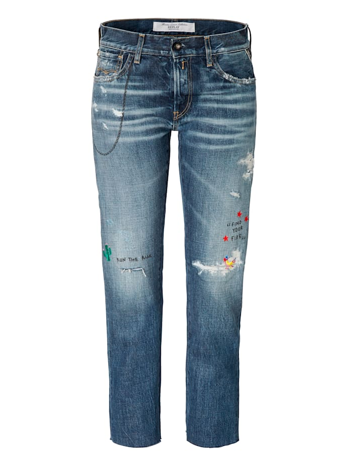 REPLAY Boyfriend-Jeans, Blau