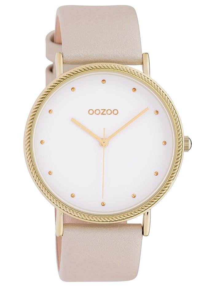 OOZOO Damenuhr Lederband Ø 40 mm Beige/Weiß, Weiß