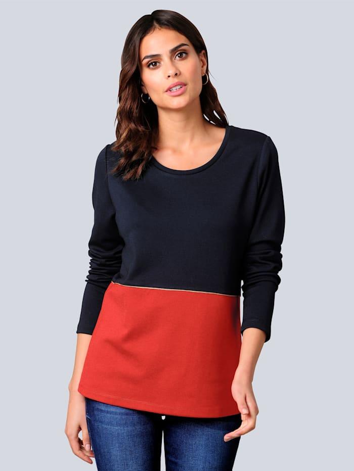 Alba Moda Shirt im Colour-Blocking, Marineblau/Orange