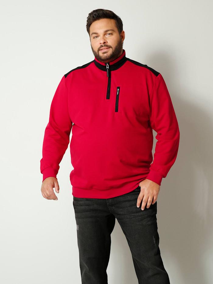 Men Plus Sweatshirt met een borstzak, Rood/Zwart