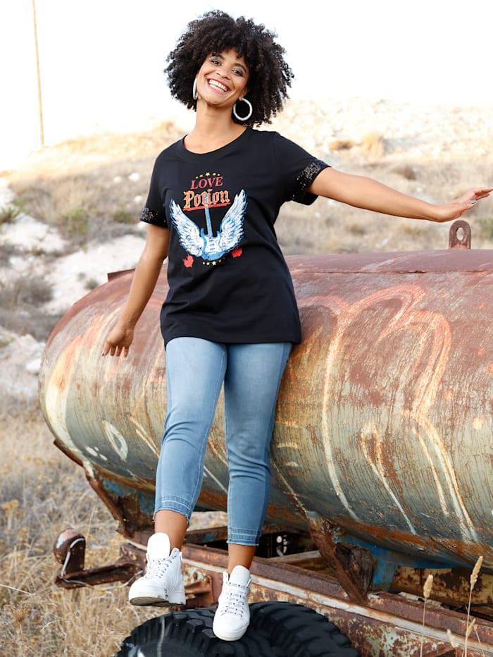 Angel of Style Shirt mit Pailletten am Ärmelsaum, Schwarz/Rot