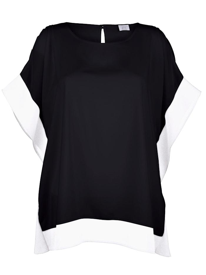 Alba Moda Blusenshirt in kontrastfarbiger Optik, Schwarz/Weiß