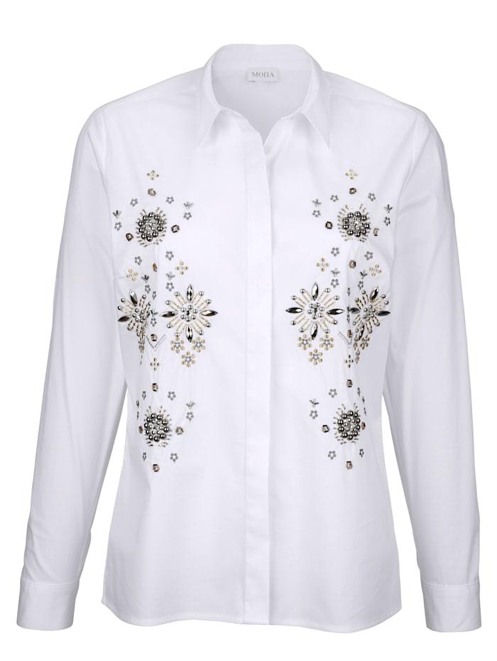Bluse mit dekorativen Ziersteinen