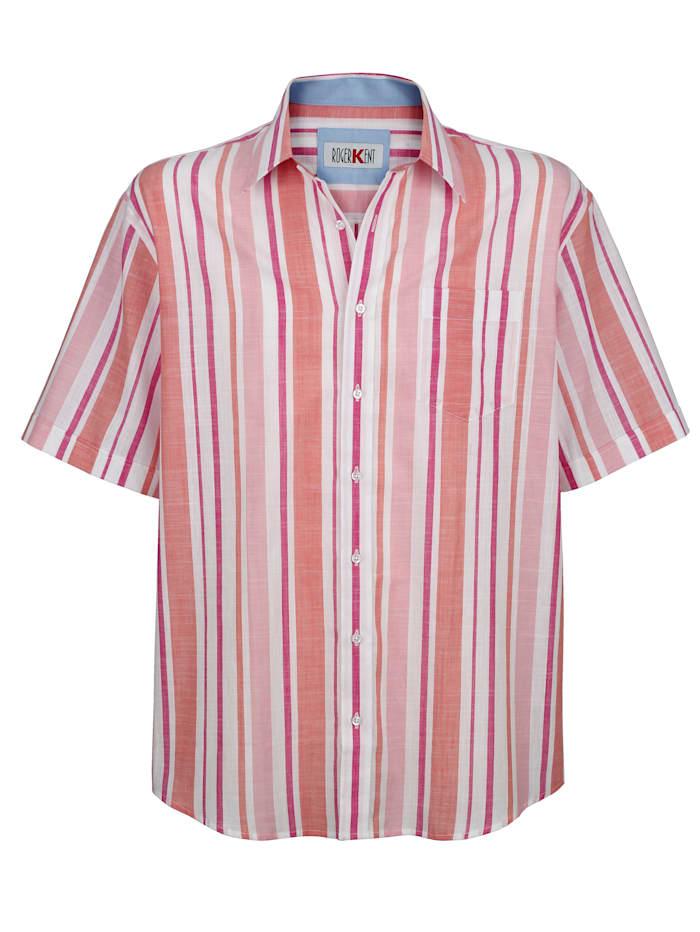 Roger Kent Overhemd met ingebreid streeppatroon, Zalm