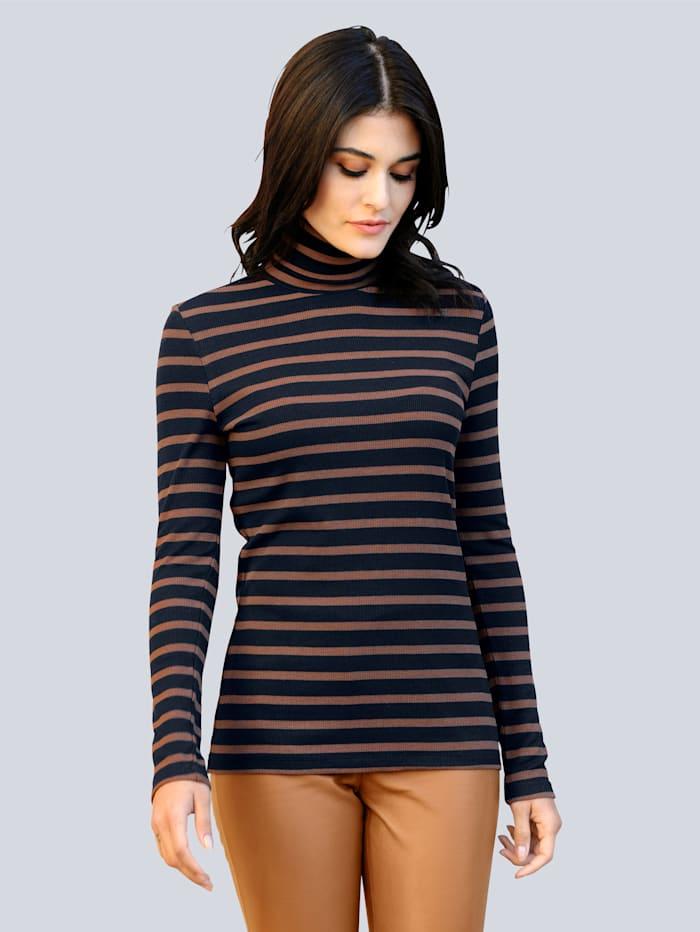 Alba Moda Colshirt van comfortabele, elastische jersey, Marine/Cognac