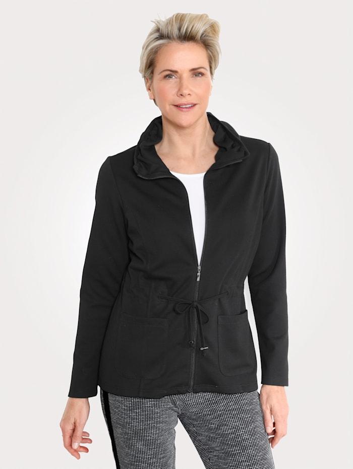 MONA Shirtjacke mit raffiniertem Kragen, Schwarz