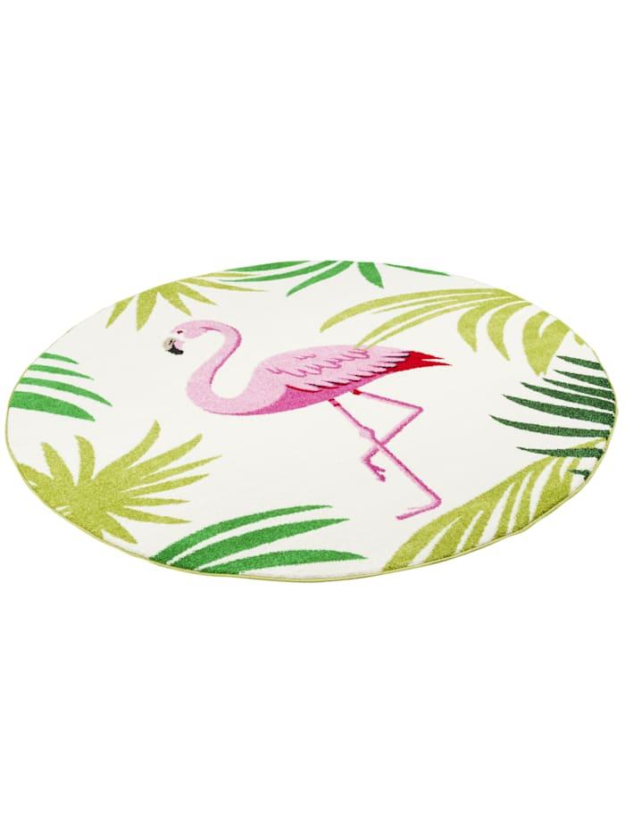 Designer Teppich Faro Tropical Flamingo Rund