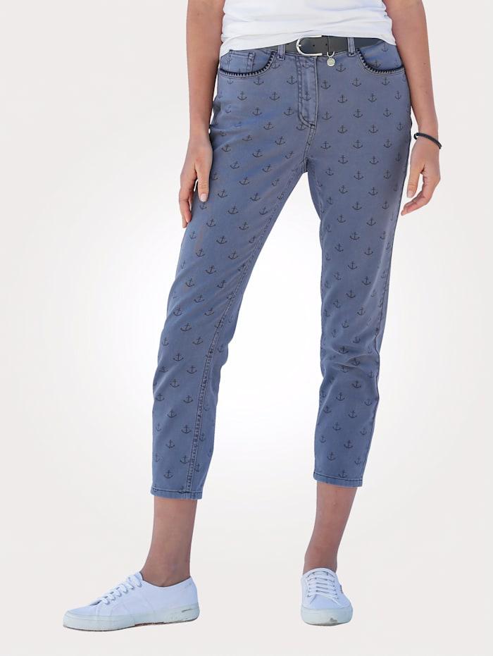 MONA Jeans mit Anker-Druck, Blau