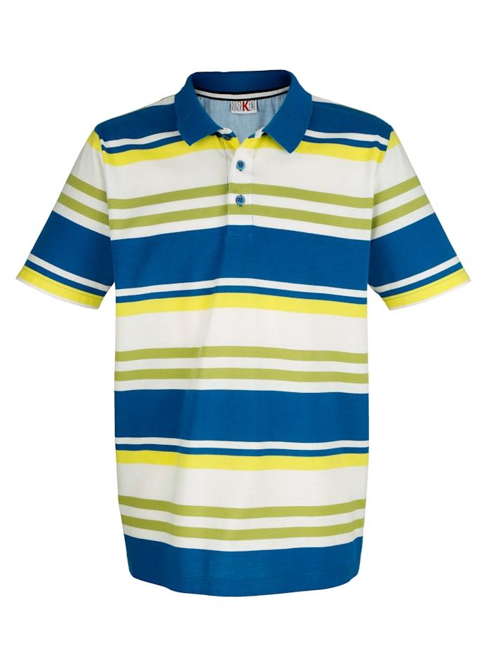 Roger Kent Poloshirt mit garngefärbtem Streifenmuster, Weiß/Blau/Grün