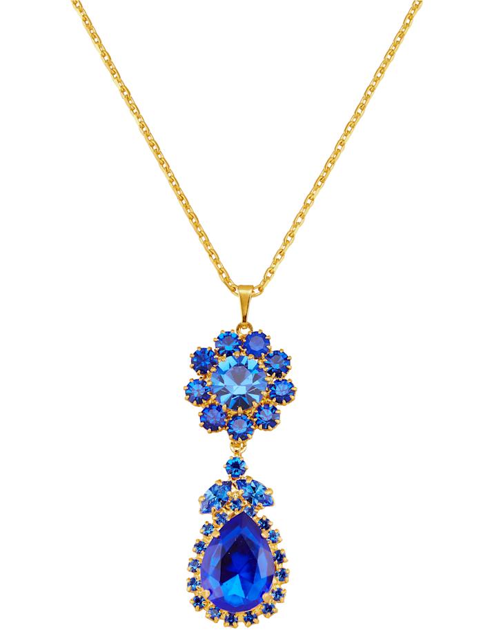 Golden Style Anhänger mit blauen Kristallen und Kette, Blau