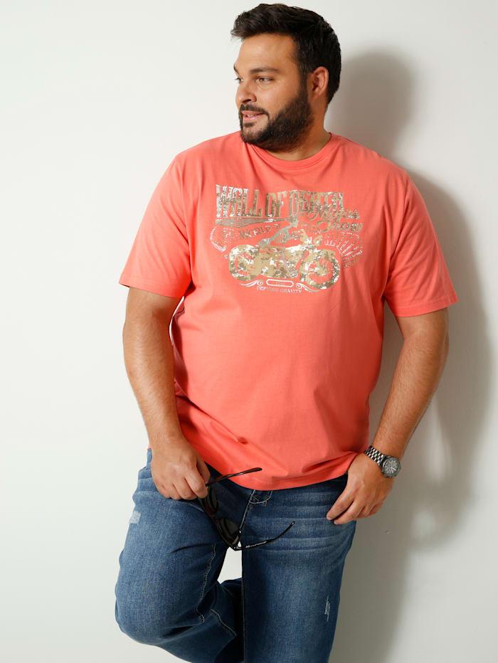 Men Plus T-shirt met print, Koraal