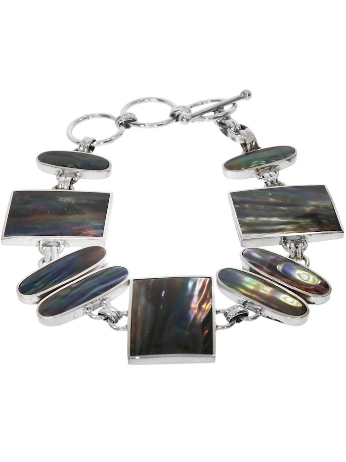 1001 Diamonds Damen Schmuck Edelstein Perlmutt Armband 925 Silber bunt 20 cm, bunt