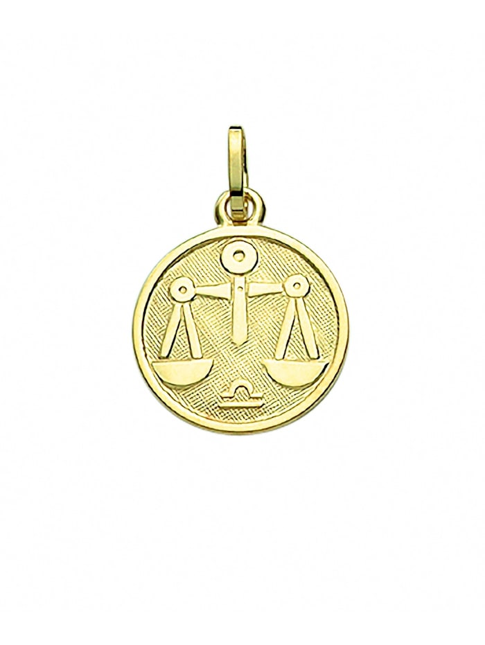 1001 Diamonds Damen & Herren Goldschmuck 333 Gold Sternzeichen Anhänger Waage Ø 11,8 mm, gold