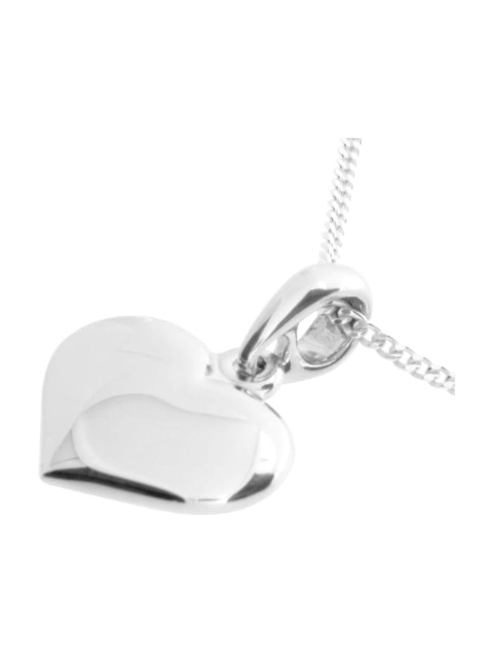 Kette mit Anhänger - Herz 15 mm - Silber 925/000 - ,