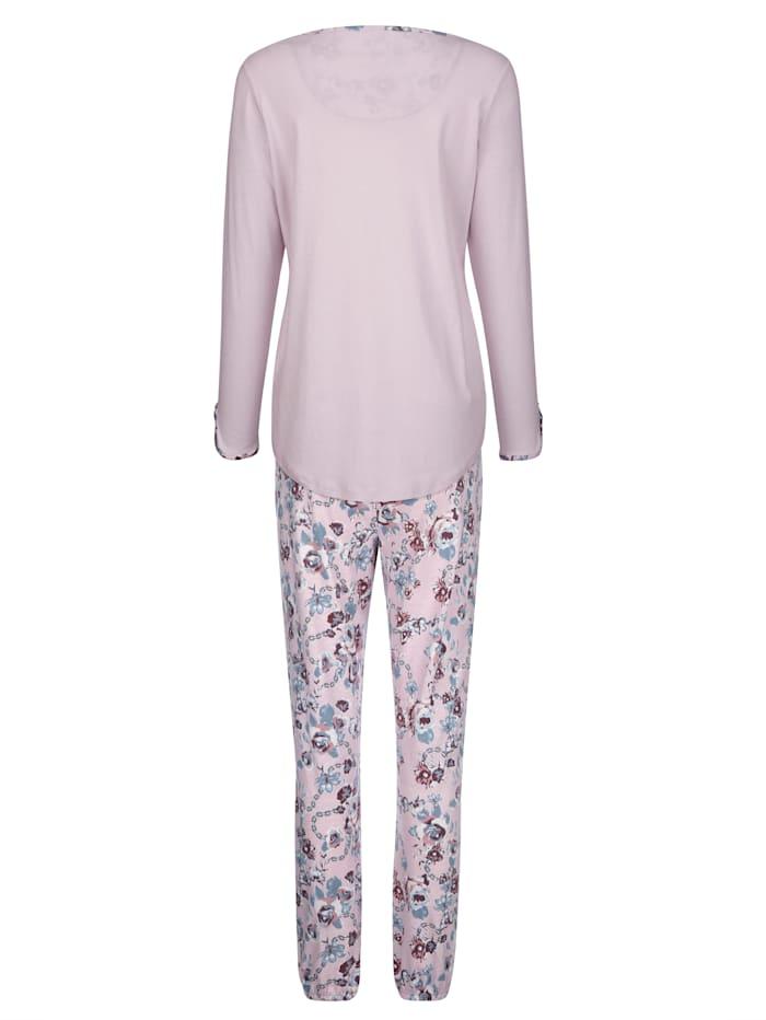 Pyjama met gedessineerde ronde hals en knoopsluiting