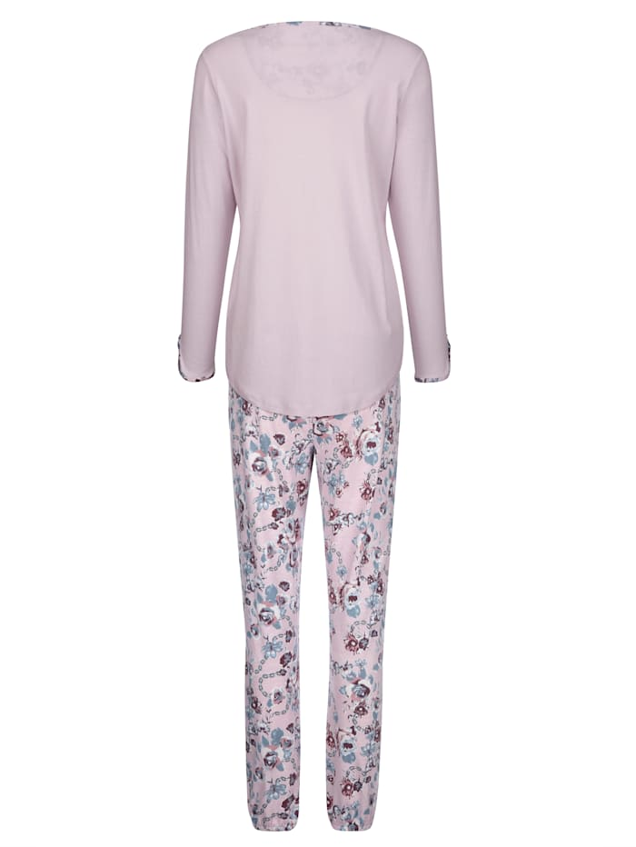 Schlafanzug mit bedrucktem Rundhalsausschnitt und Knopleiste