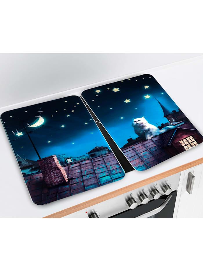 Wenko 2er-Set Herdabdeckplatten 'Moon Cat', mehrfarbig