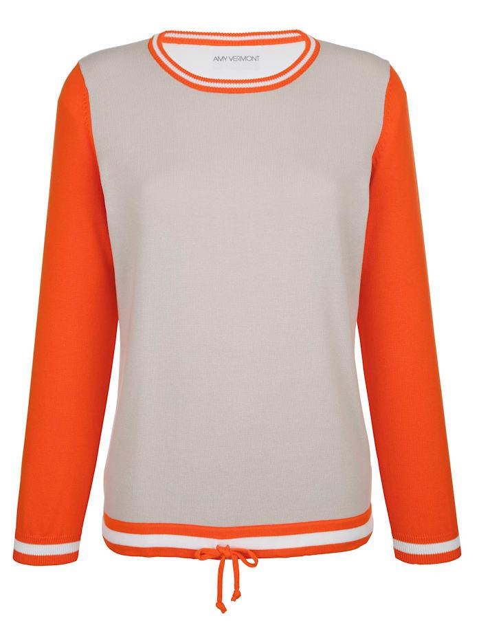 AMY VERMONT Pullover mit Tunnelzug am Saum, Beige/Orange/Pink
