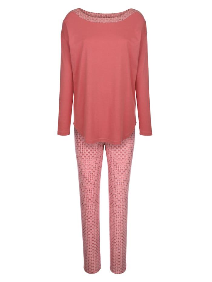 Schlafanzug mit dekorativem Druckeinsatz