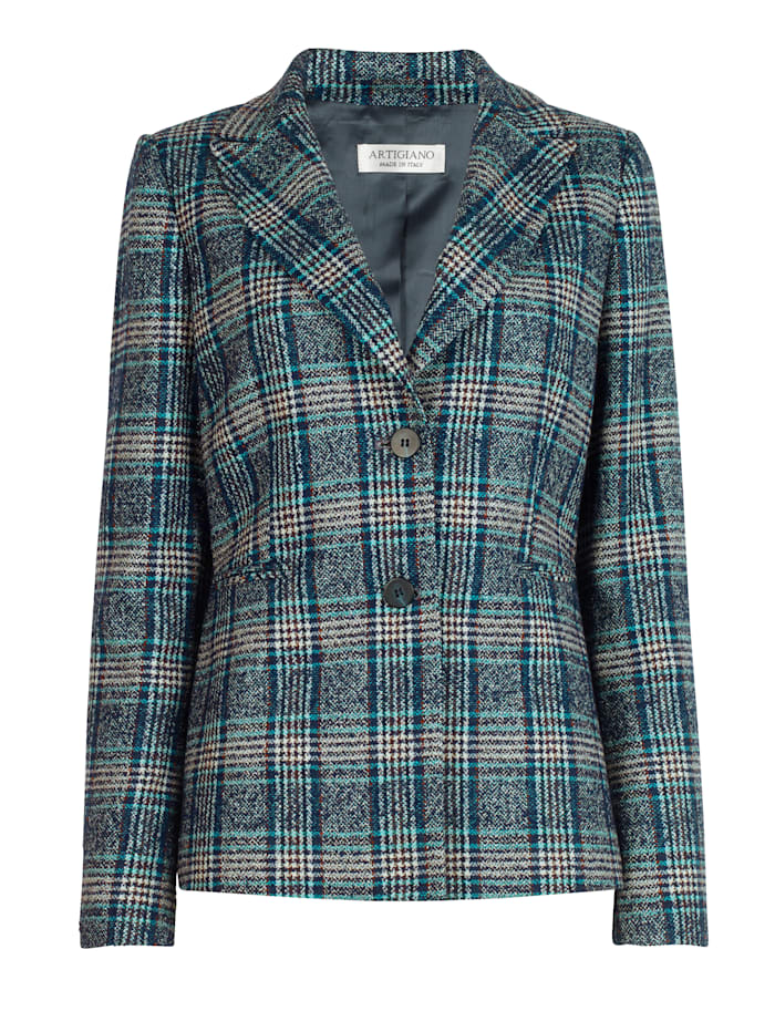 Blazer made from a wool blend check fabric
