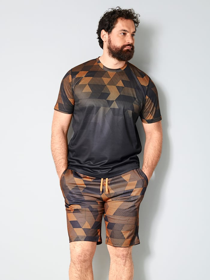 Men Plus T-shirt Sneldrogend, Zwart/Neonoranje