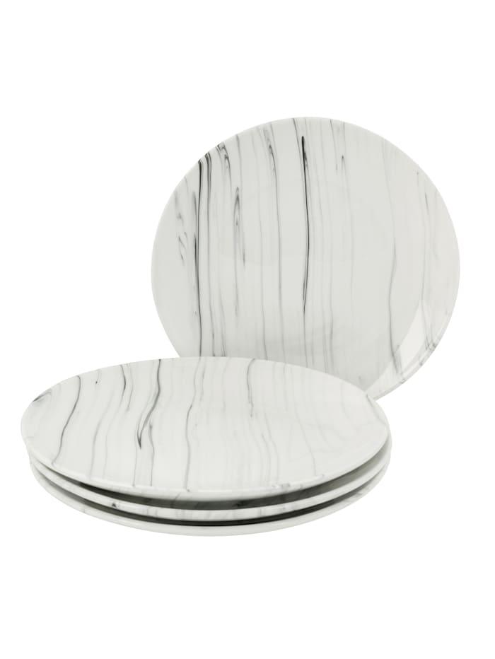 IMPRESSIONEN living Lot de 4 assiettes plates, Blanc/Noir