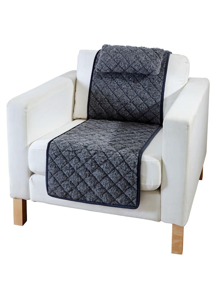 Linke Licardo Protège-fauteuil avec petits coussins, Anthracite