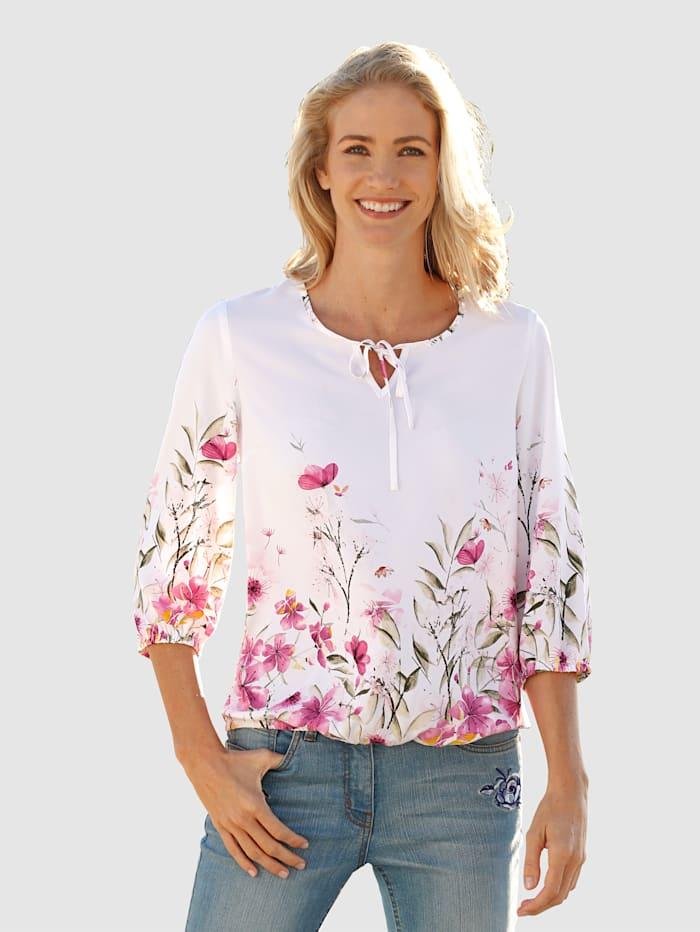 Dress In Tunika mit modischen Blumendruck, Weiß/Hellrosa/Rosé