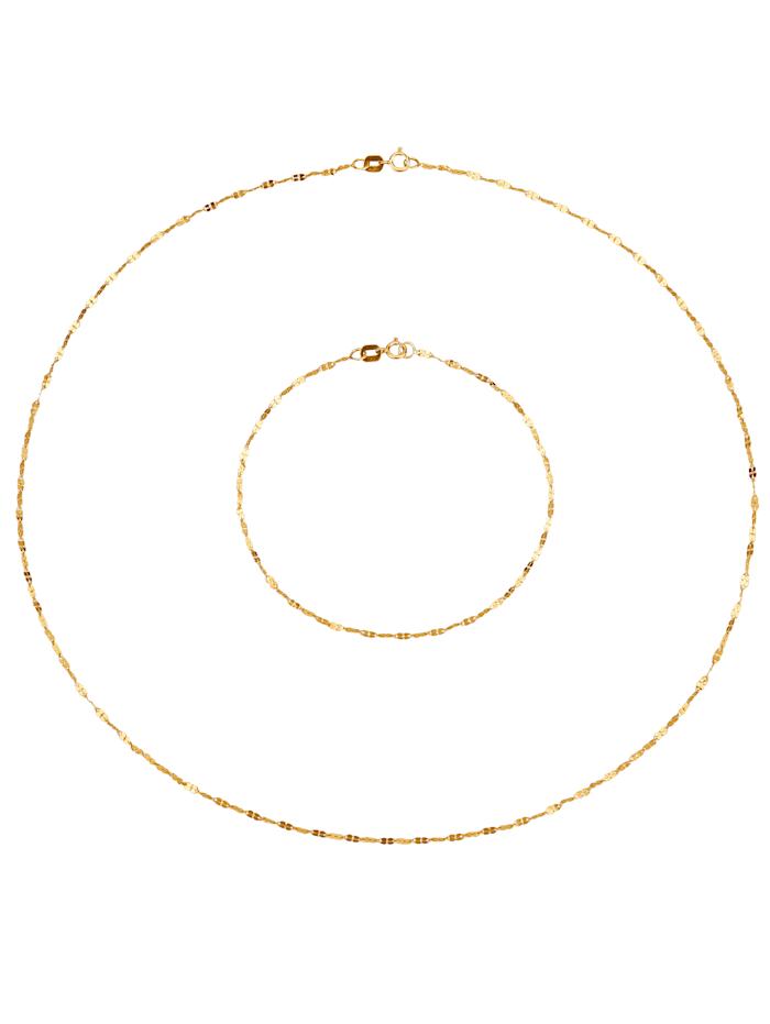 KLiNGEL 2tlg. Schmuck-Set in Massiv Gelbgold, Gelbgoldfarben