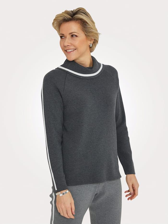 MONA Pullover mit kontrastfarbenen Schulterstreifen, Dunkelgrau/Natur