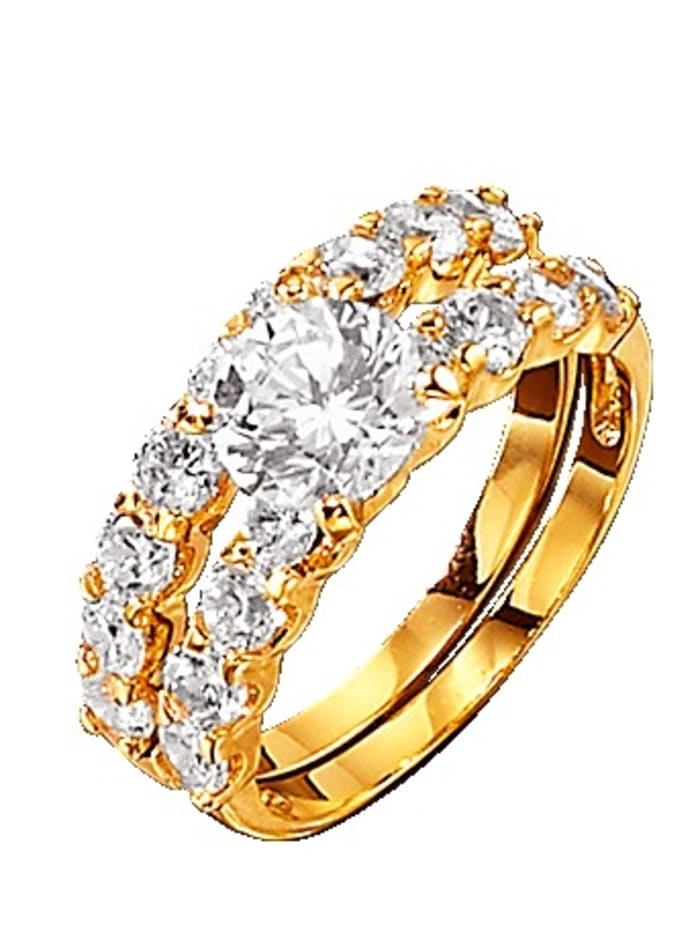 Golden Style 2tlg. Ring-Set mit Similisteinen, Weiß