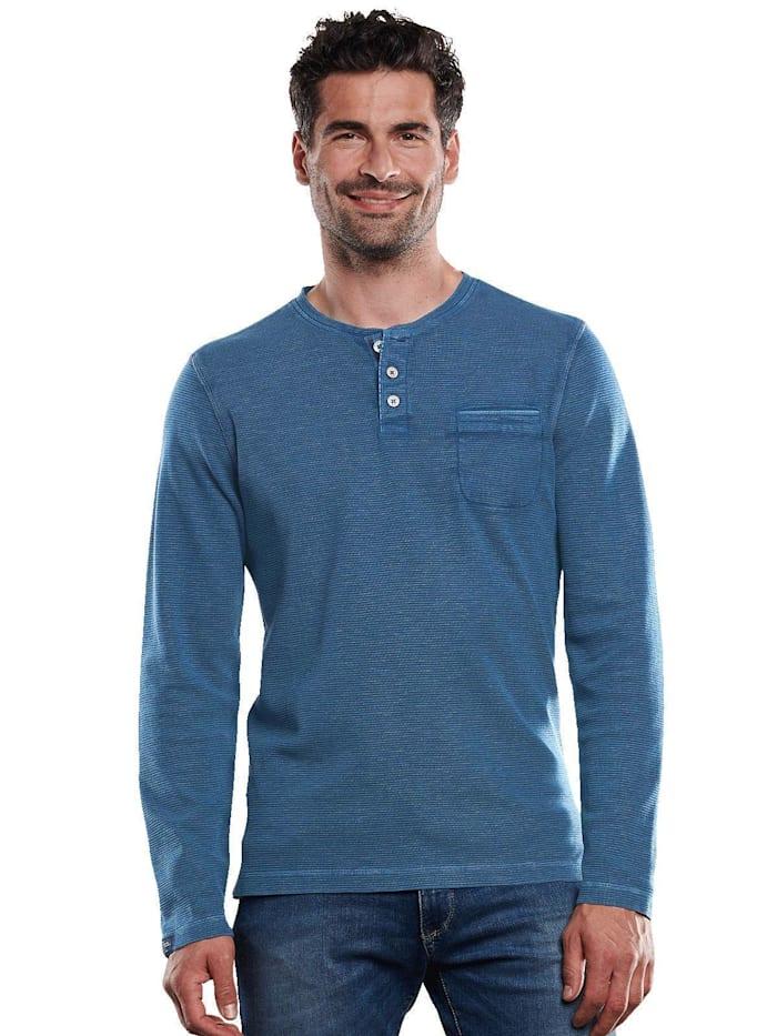 Engbers Henley-Shirt authentisch gewaschen, Enzianblau