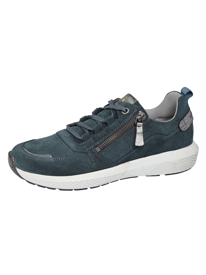 Naturläufer Schnürschuhe mit zusätzlichem Reißverschluss, Blau