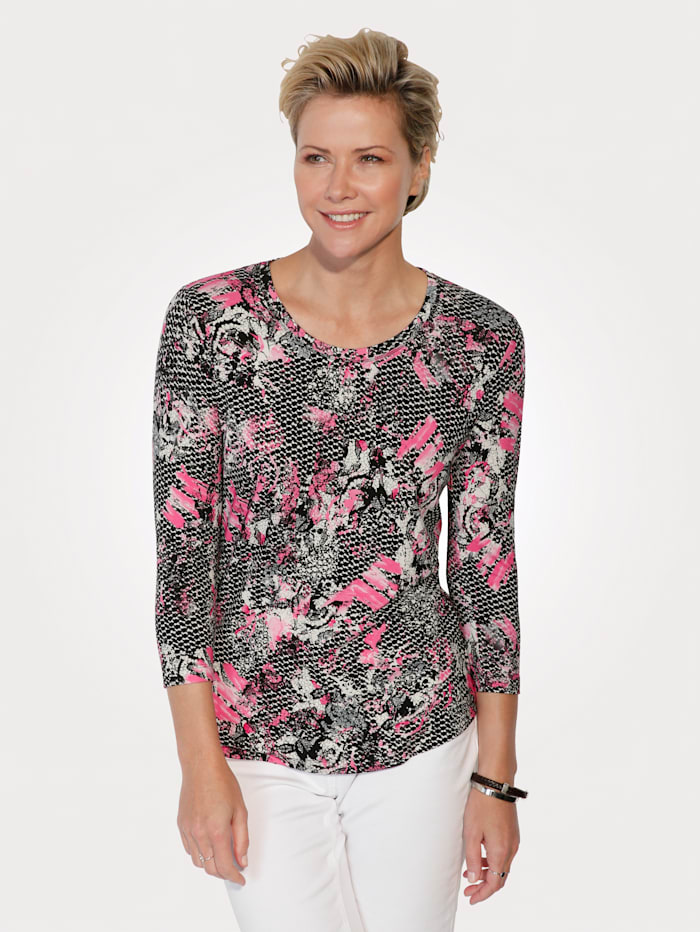 Rabe Shirt mit grafischem Druck, Schwarz/Pink