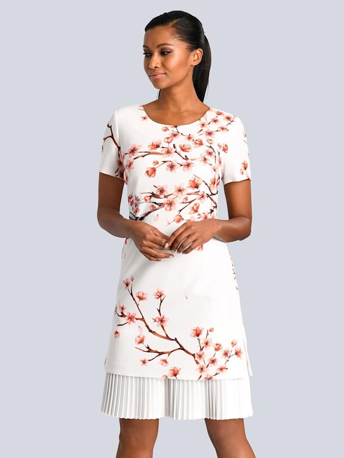 Alba Moda Kleid mit wunderschönem Blumendruck, Weiß/Koralle