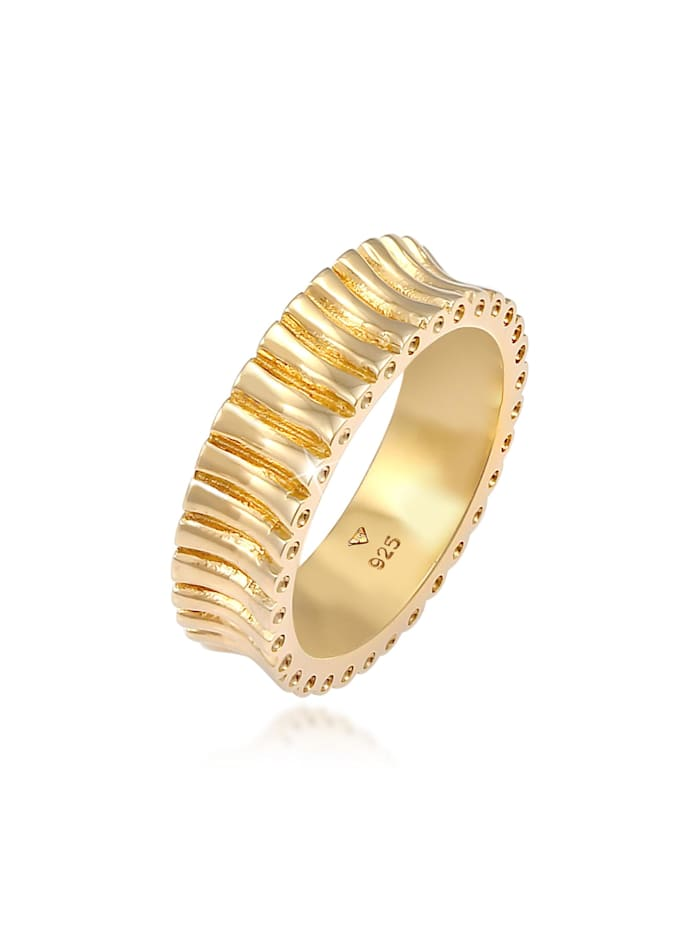 Elli Ring Bandring Relief Struktur Trend Cool 925 Silber, Gold