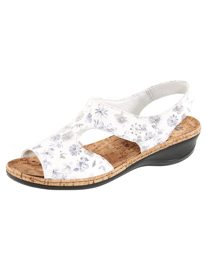 Suave Sandaaltje met comfortabel kurken voetbed, Wit